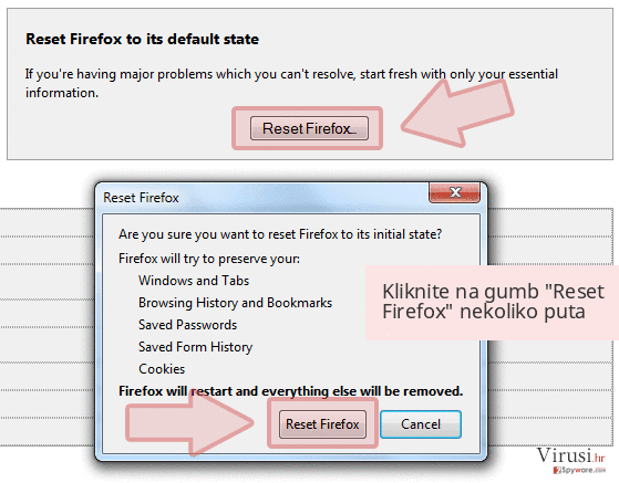 Kliknite na gumb 'Reset Firefox' nekoliko puta