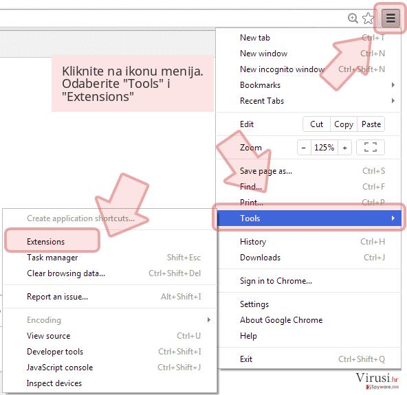 Kliknite na ikonu menija. Odaberite 'Tools' i 'Extensions'