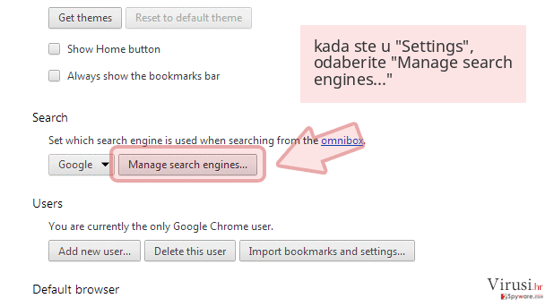 kada ste u 'Settings', odaberite 'Manage search engines...'
