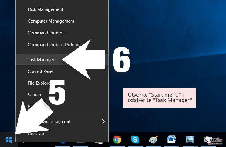 Otvorite 'Start menu' i odaberite 'Task Manager'