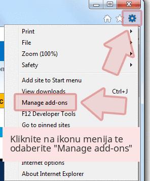 Kliknite na ikonu menija te odaberite 'Manage add-ons'