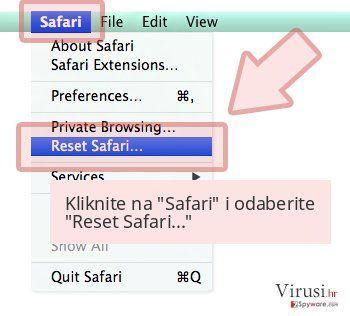Kliknite na 'Safari' i odaberite 'Reset Safari...'