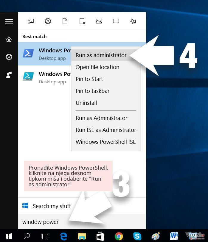 Pronađite Windows PowerShell, kliknite na njega desnom tipkom miša i odaberite 'Run as administrator'