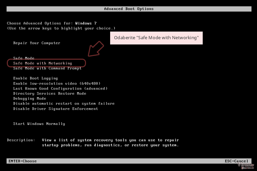 Odaberite 'Safe Mode with Networking'