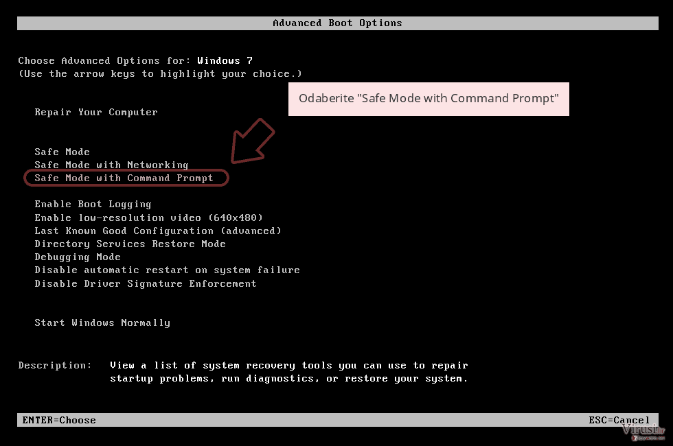 Odaberite 'Safe Mode with Command Prompt'