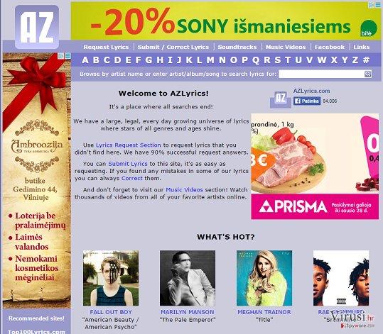 Reklame od AZLyrics fotografija