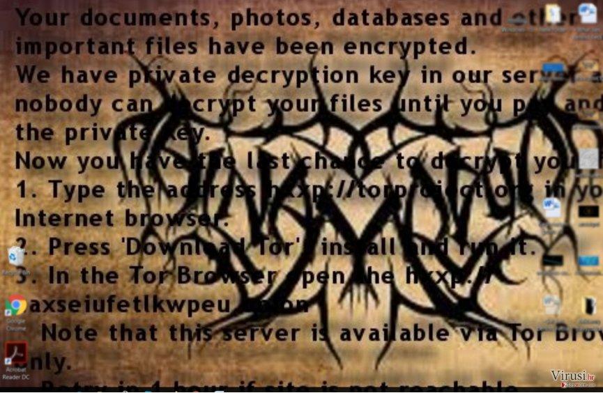 Poruka sa zahtjevom za plaćanje otkupnine ransomware virusa Al-Namrood