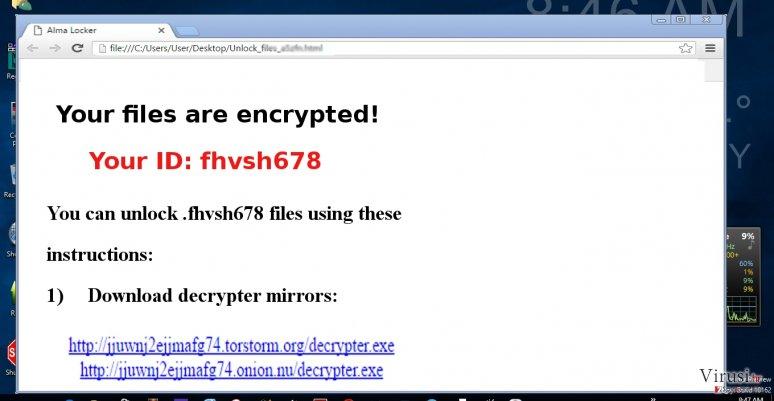 The picture showing AlmaLocker virus
