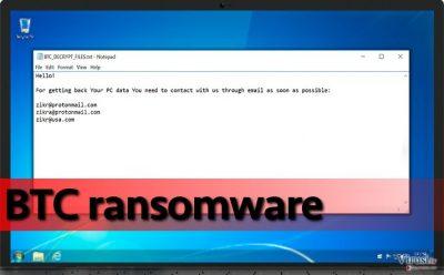 Ransomware BTC na kompromitiranom računalu