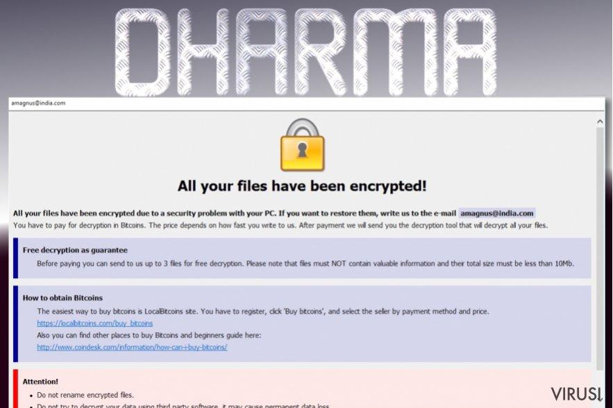 Ransomware virus Dharma