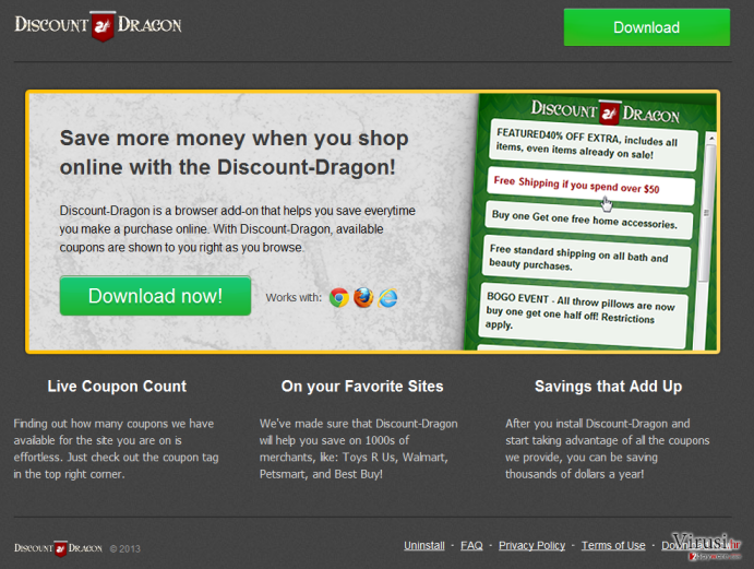 'Ads by Discount Dragon' virus fotografija