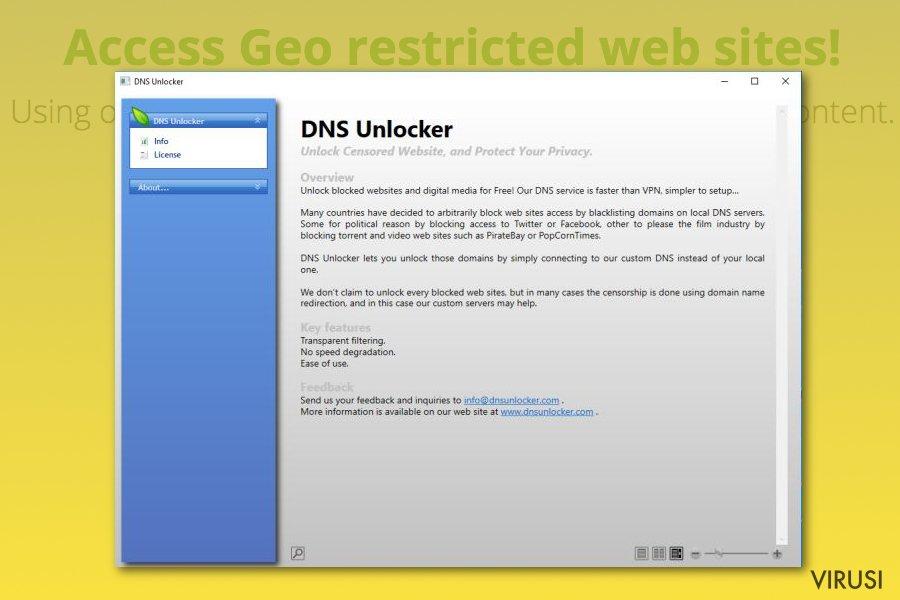 Adware program DNS Unlocker fotografija