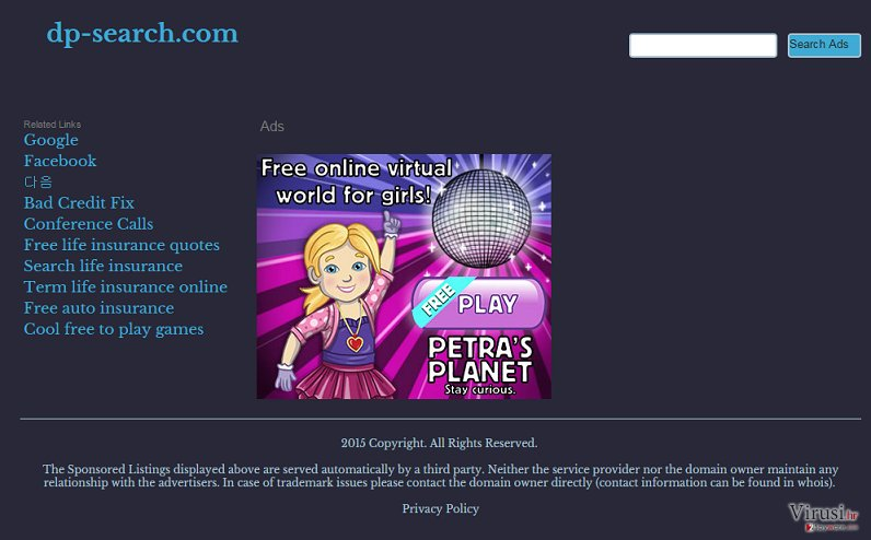 Dp-search.com redirect virus fotografija