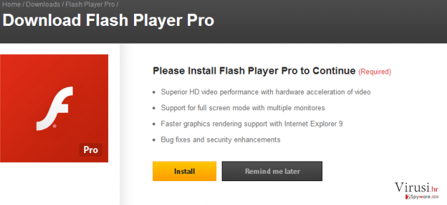 Flash Player Pro virus fotografija