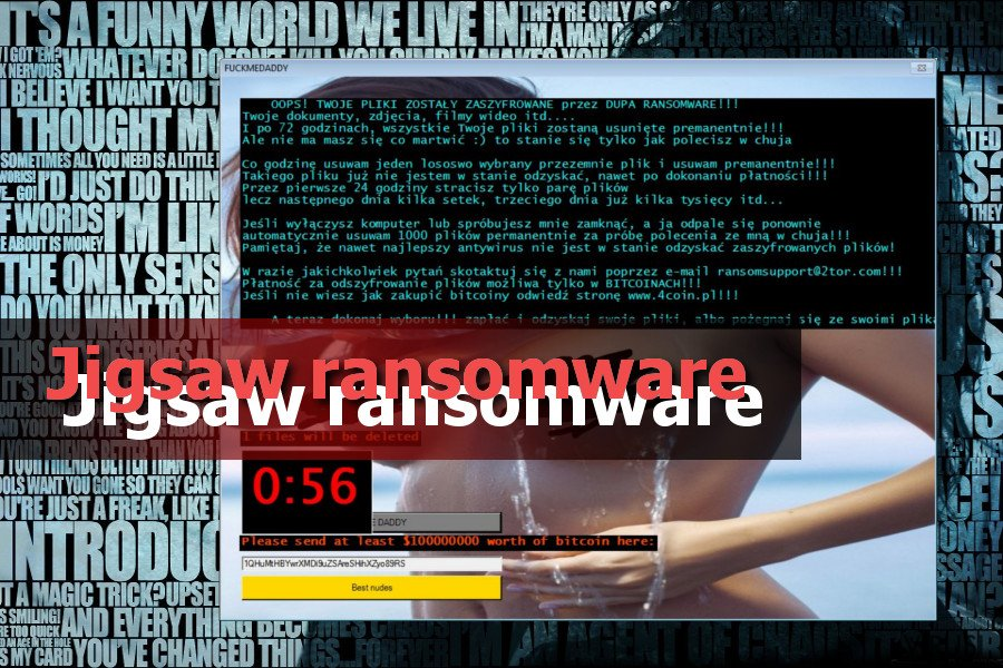 Ransomware virus Jigsaw fotografija