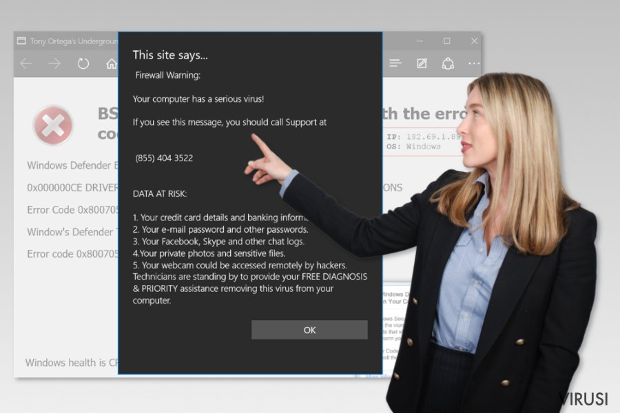 Microsoft Edge virus tehničke podrške
