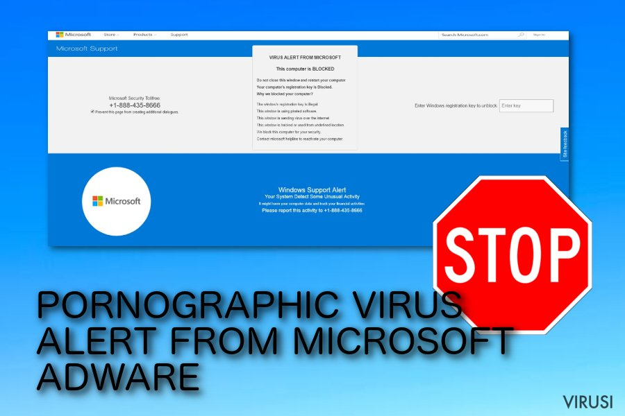 PORNOGRAPHIC VIRUS ALERT FROM MICROSOFT pop-up prevara