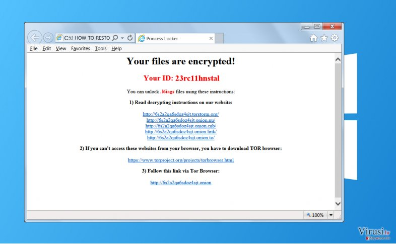 Ransomware virus Princess Locker fotografija