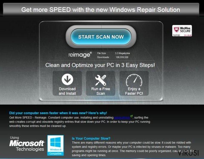 Reklame stranice ReimagePlus.com fotografija