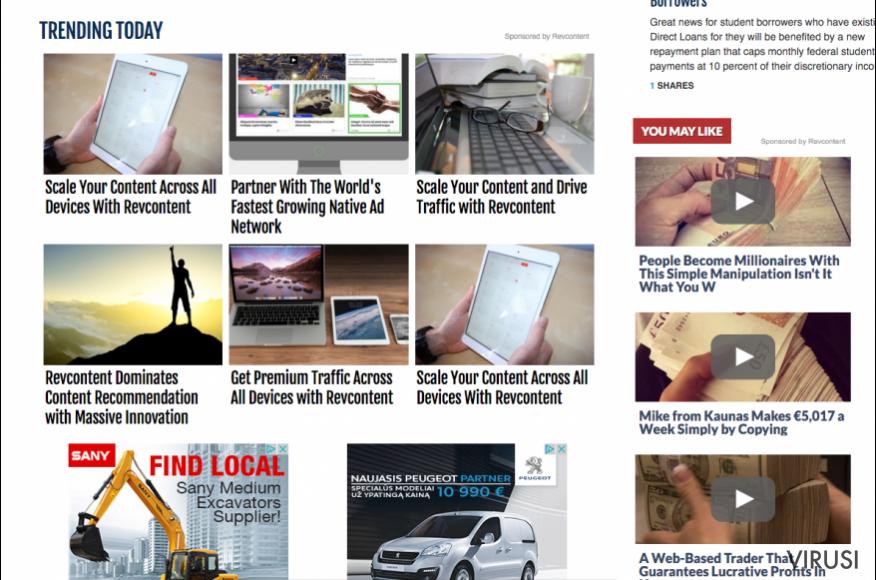 Reklame programa RevContent na web stranicama trećih strana