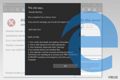 Snimka zaslona Microsoft Edge virusa