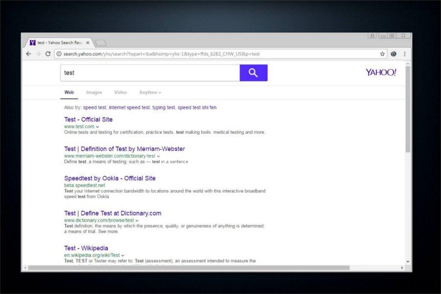 Preusmjeravanja virusa search.yahoo.com fotografija