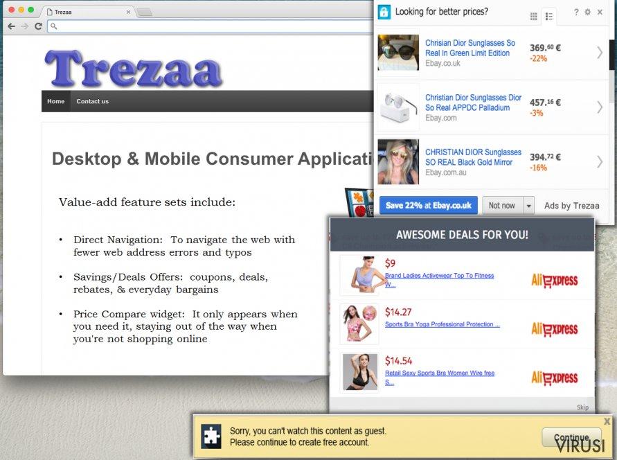 Trezaa ads can be deceptive