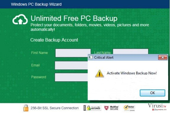 Windows PC Backup Wizard example screenshot