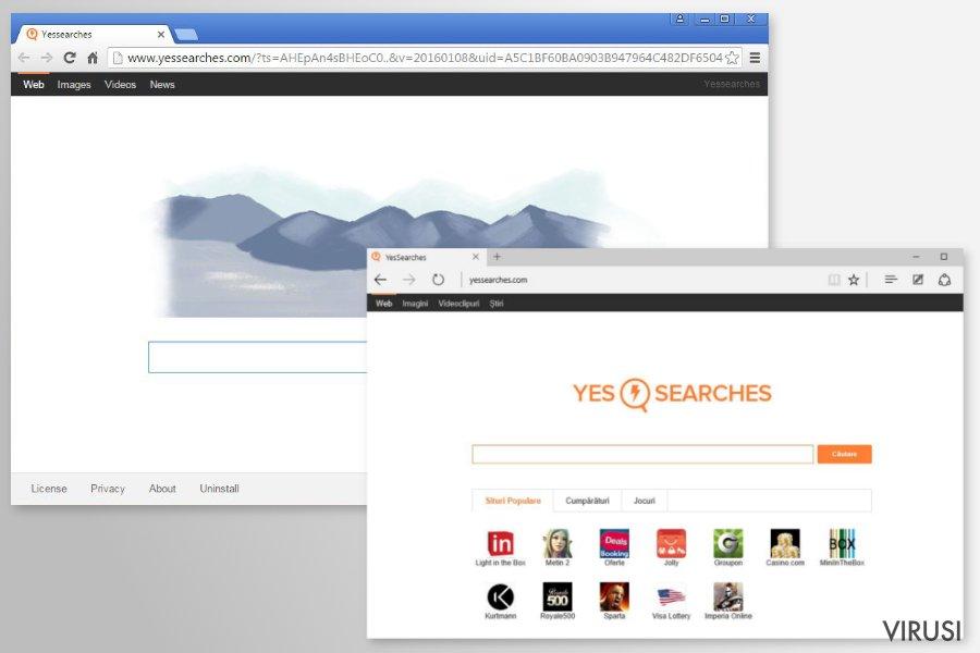Preusmjeravanja virusa YesSearches.com fotografija