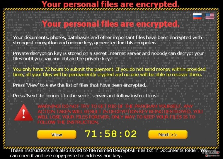 "Virus ""Your personal files are encrypted"" fotografija"