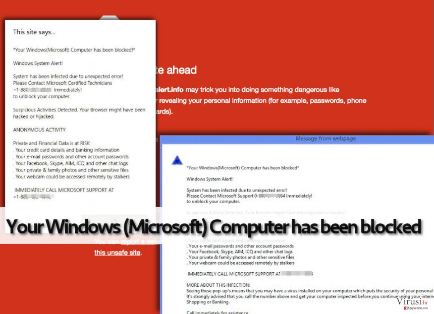 Your Windows (Microsoft) Computer has been blocked lažno upozorenje